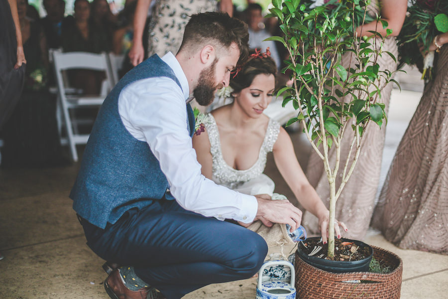 Bride and Groom Planting Tree at St. Pete Wedding Ceremony