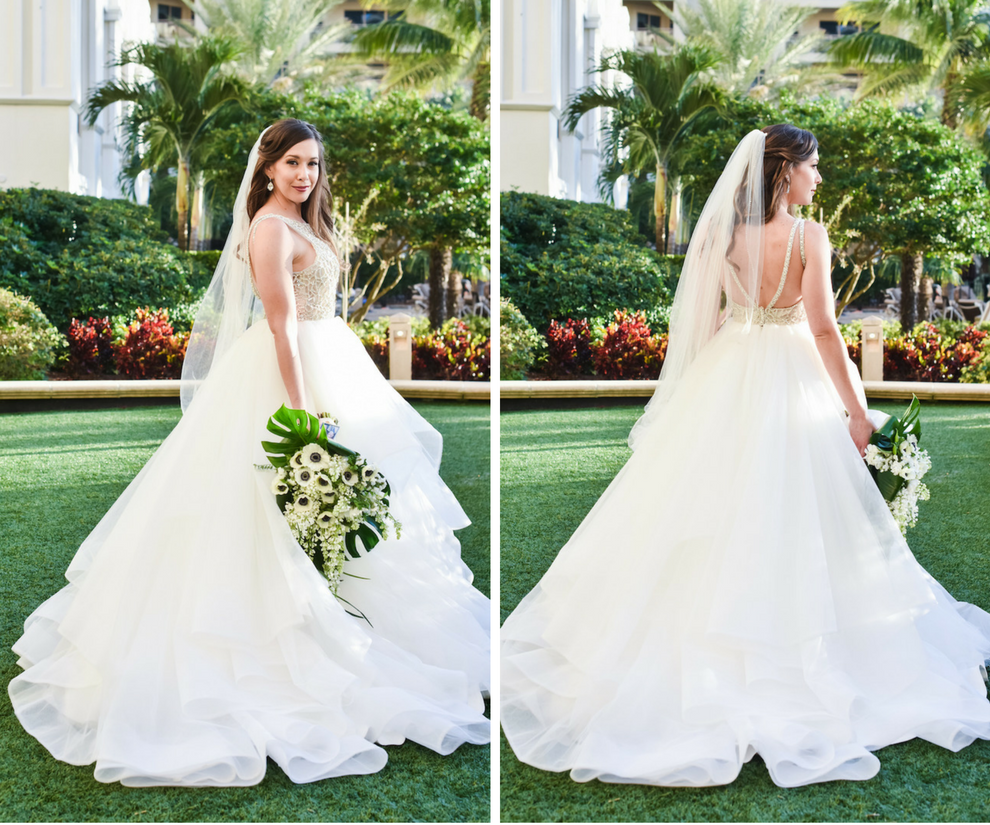 Bridal Wedding Portrait with Soft Hair in Natural Loose Waves Wearing Hayley Paige Dori Wedding Dress and Ivory Anemone Wedding Bouquet with Tropical Greenery | Clearwater Beach Wedding Hair and Makeup Artist Michele Renee The Studio