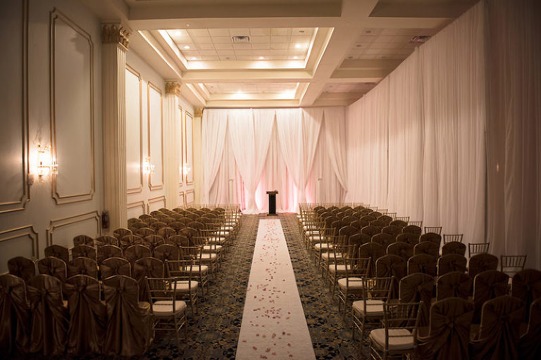 Indoor Ballroom Wedding Ceremony with White Draping by Delite Entertainment | Downtown Tampa Wedding Venue The Floridan Palace