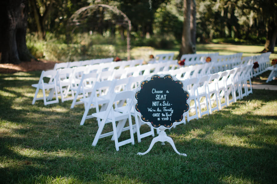Choose A Seat not A Side Chalkboard Wedding Sign At Dover Wedding Ceremony