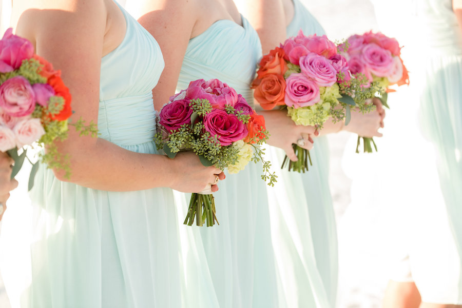 Pink, Ivory, and Orange Floral Bridesmaids Bouquets