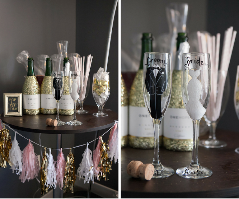 Custom Bridesmaids Getting Ready Champagne Bar with Personalized Bride and Groom Flutes s