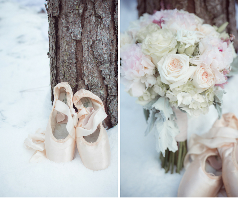 Nutcracker Ballet Styled Wedding Shoot | Blush Pink Ballet Pointe Shoes with Wintry Ivory Blush and Pink Wedding Bouquet