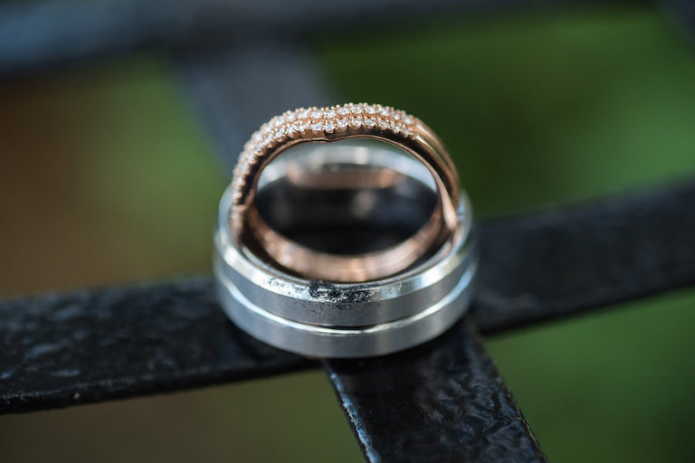 Bride and Groom Wedding Band Ring Portrait | Rose Gold and Diamond Wedding Band | Tampa Wedding Photographer Caroline and Evan Photography