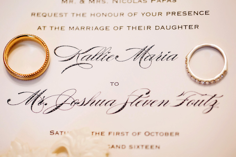 Elegant Gold and Navy Wedding Invitation with Wedding Bands | St Petersburg FL Wedding Photographer Limelight Photography