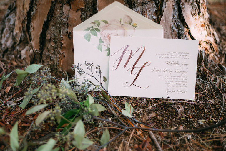 Bohemian Chic Wedding Invitation Suite with Flower Envelope Liner and Monogram Detail