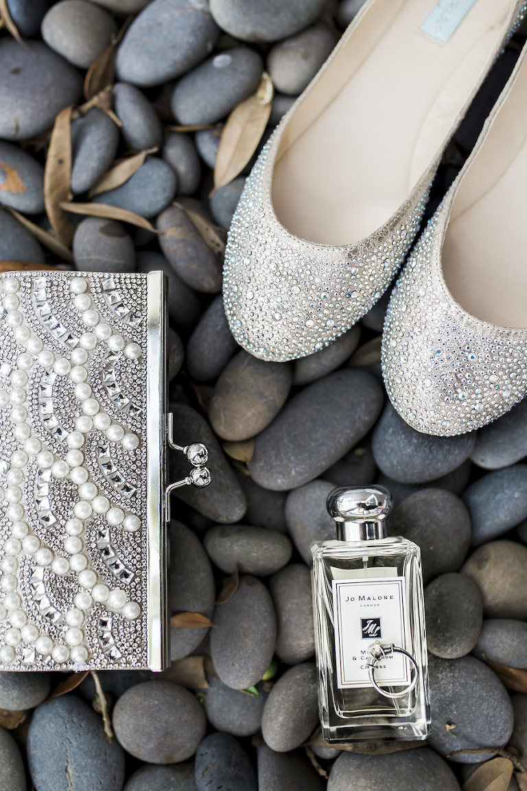 Bridal Champagne Closed Toed Wedding Shoes with Sparkle Accent | Crystal and Pearl Wedding Clutch with Bridal Wedding Day Perfume and Engagement Ring