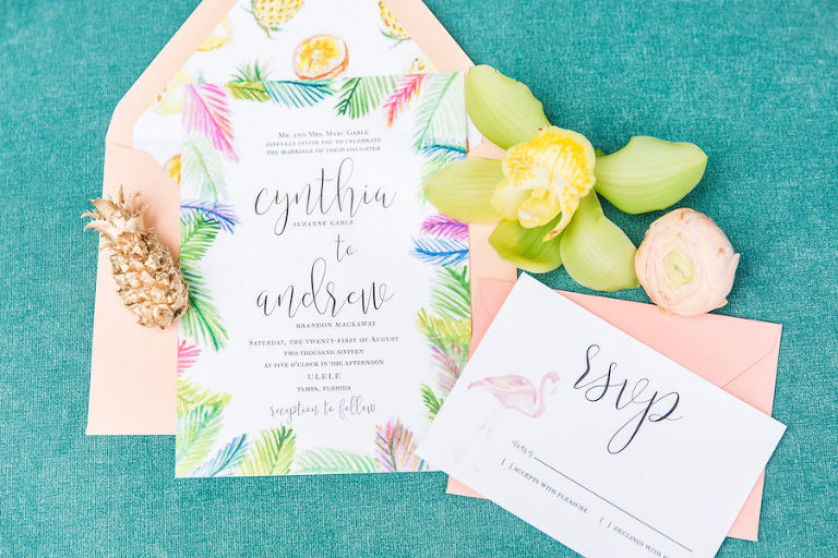 Tropical, Lilly Pulitzer, Palm Tree, Citrus and Flamingo Tropical Inspired Wedding Invitation Suite | Tampa Wedding Letterpress Custom Designs by A&P Designs