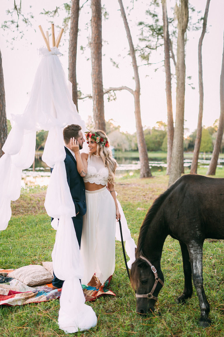 Boho Chic Wedding Portrait With Flower Crown And Horse Rustic Tampa Bay Venue The Barn