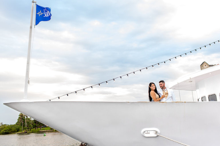 Bride and Groom Wedding Portrait | Downtown Tampa Wedding Venue Yacht StarShip