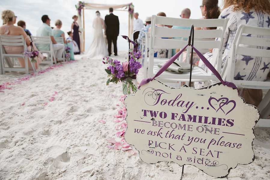 Purple Wedding Aisle Ceremony Decor With Wood Family Sign