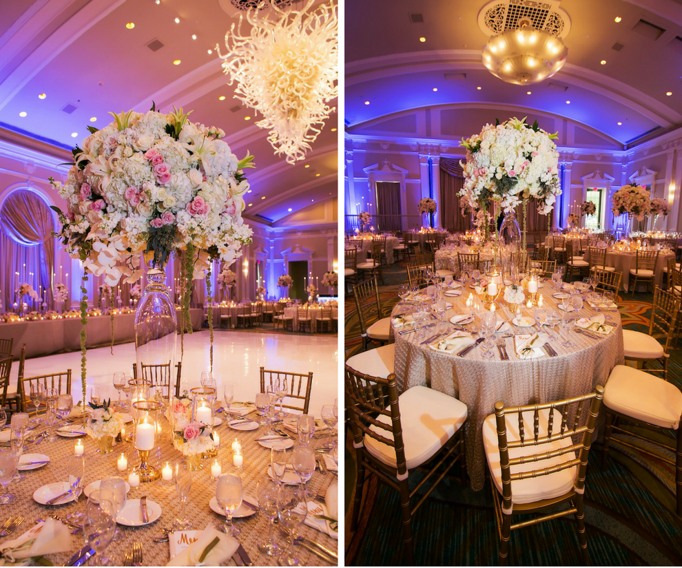 Luxurius Ballroom Wedding Reception with Tall Blush, Gold and Ivory Centerpieces and Décor at Downtown St Pete Wedding Venue Vinoy Renaissance Sunset Ballroom   Gold Chiavari Chair Rentals by A Chair Affair   Tampa Wedding Photographer Limelight Photography