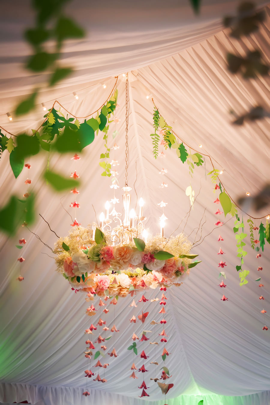 Floral Chandelier, Whimsical, Hanging Wedding Decor at Garden Wedding Reception | Mid-Summer's Night Dream Wedding Inspiration | Tampa Wedding Venue DoubleTree Suites by Hilton
