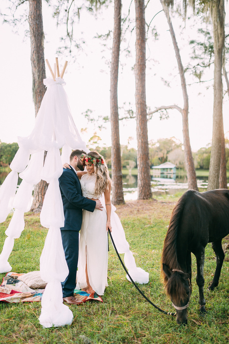 Boho Chic Wedding Portrait with Flower Crown and Horse Rustic Tampa Bay Wedding Venue The Barn at Crescent Lake at Old McMicky's Farm