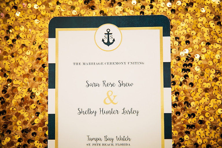 Nautical Inspired Navy Blue and White Striped Wedding Invitation | Nautical Inspired Wedding Inspiration