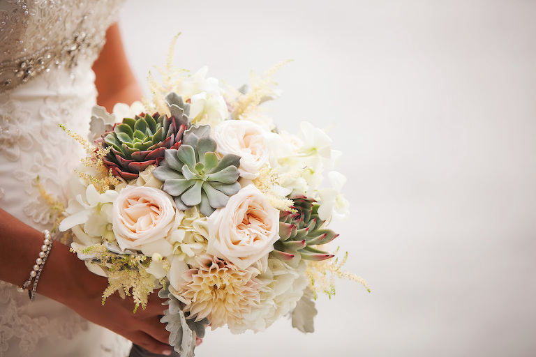 Elegant Bridal Wedding Bouquet with Blush and Ivory Roses and Succulents   St. Petersburg Wedding Photographer Limelight Photography