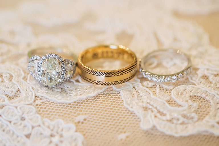Bride and Groom White and Yellow Gold Wedding and Engagement Ring Portrait on Lace | St Pete FL Wedding Photographer Limelight Photography