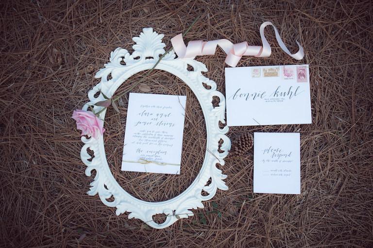 White Script Calligraphy Wedding Invitation Suite