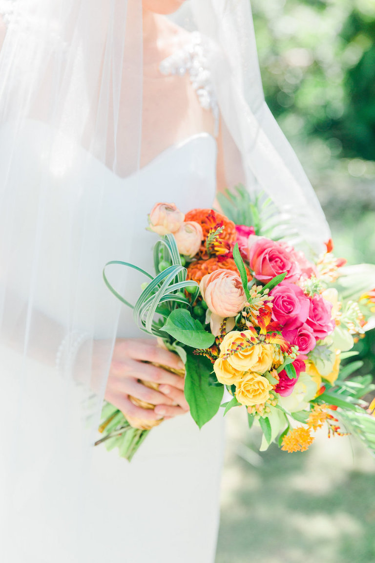Sweetheart Wedding Dress Portrait with Tropical, Vibrant Pink, Orange and Yellow Wedding Bouquet