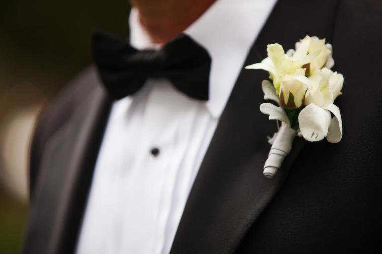 Groom's Ivory Floral Wedding Boutonniere   Black Tie Wedding Tuxedo