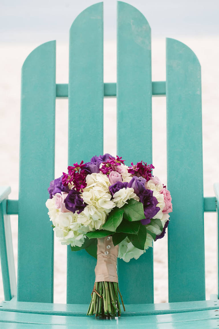 Purple and White Wedding Bouquet in Teal Beach Chair | Clearwater Beach Wedding Florist Iza's Flowers