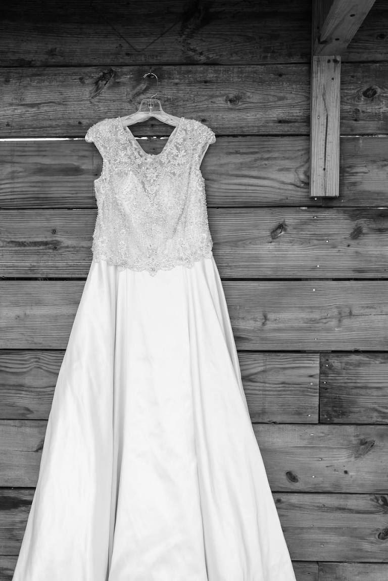 Rounded Neckline Beaded Wedding Dress with Cap Sleeves and Satin Skirt | Tampa Bay Wedding Photographer Caroline and Evan Photography