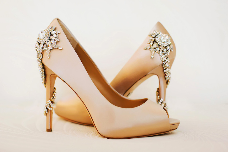 Badgley Mischka 'Royal' Crystal Embellished Peeptoe Pump in Nude | Wedding Shoe Inspiration