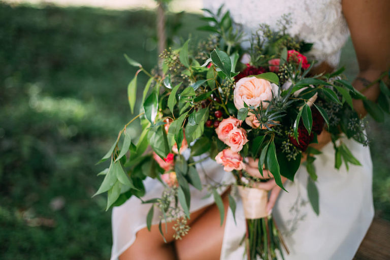Bohemian Chic Wedding Bouquet with Greenery and Blush Peach Pink Flowers