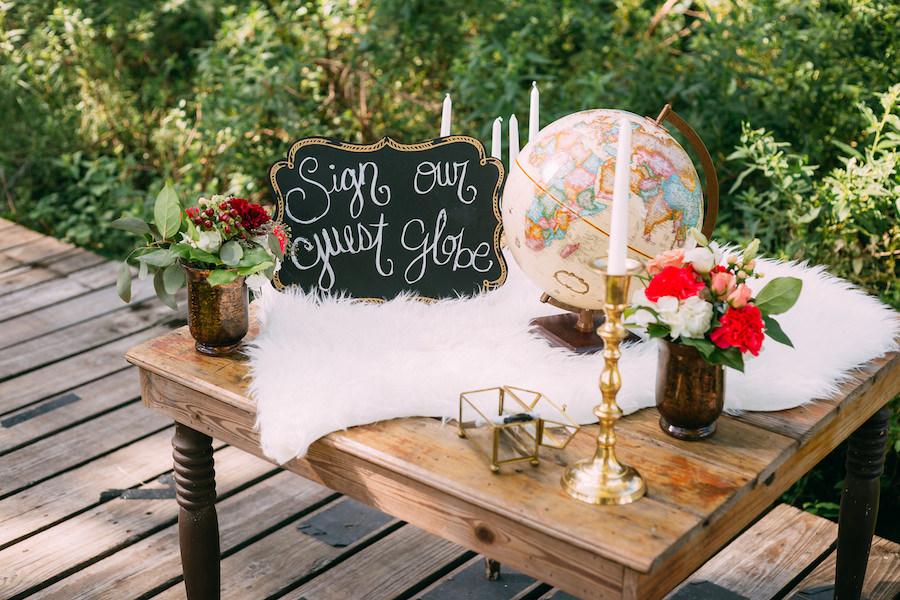 World Globe Wedding Guest Book Boho Chic Travel Themed Wedding