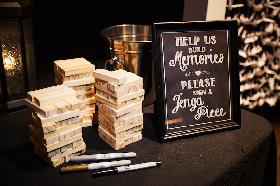 Jenga Guest Book Signing Table At Wedding Reception Unique