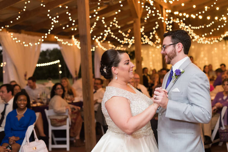 Bride and Groom First Dance Wedding Day Portrait at Tampa Wedding Reception Venue Cross Creek Ranch   Rustic Barn Wedding Ideas and Inspiration   Photograph by Caroline and Evan Photography