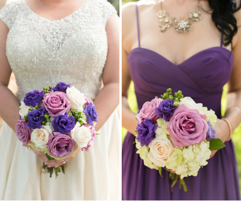 Beaded Rounded Neckline Ivory Wedding Dress and Purple Sweetheart Neckline Bridesmaid Gown with Purple, Pink and Ivory Roses Wedding Bouquet | Tampa Wedding Photographer Caroline and Evan Photography