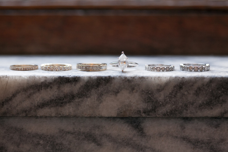 Bridal Jewelry: Marquis Engagement Ring with Vintage Wedding Bands on Marble Stone   Tampa Wedding Photographer Carrie Wildes Photography