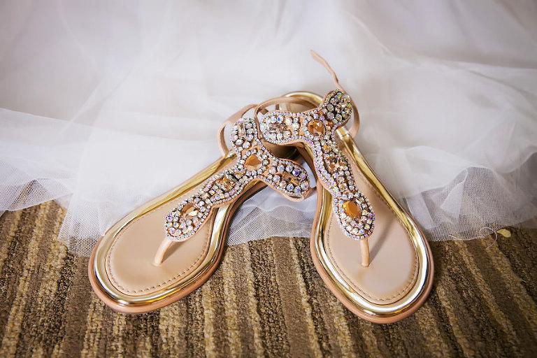 Gold, Crystal, Rhinestone Bridal Wedding Bridal Sandals