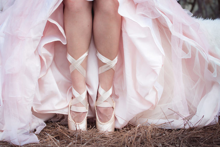 Nutcracker Ballet Styled Wedding Shoot | Blush Pink Ballet Pointe Shoes with Pink Tulle Wedding Gown