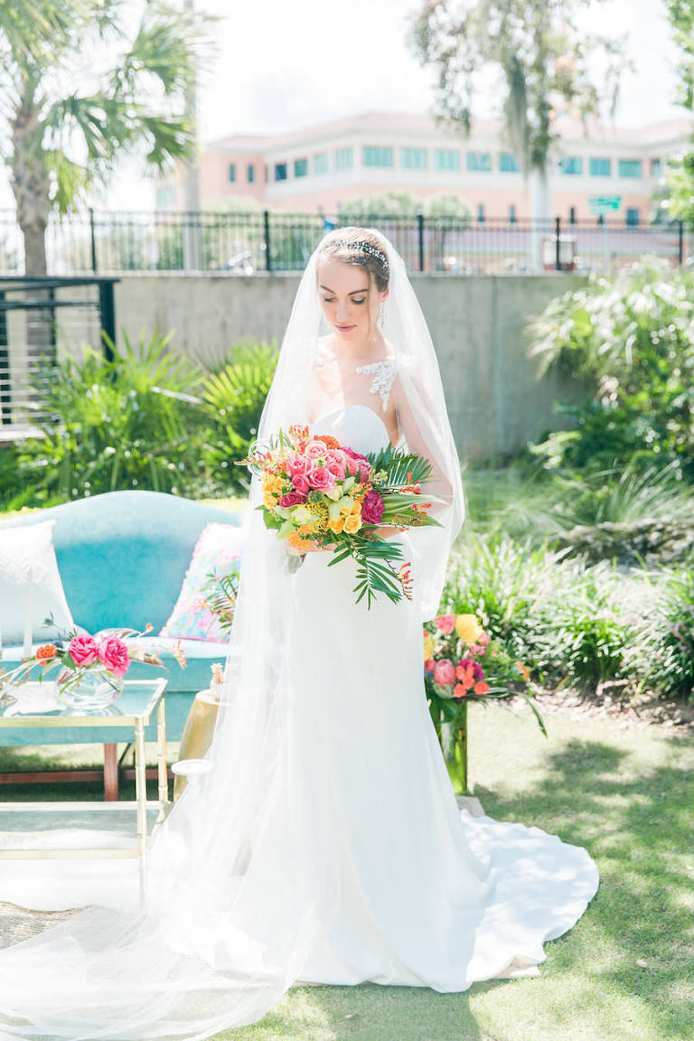 Outdoor Florida Bridal Wedding Portrait |Sweetheart Wedding Dress Portrait with Tropical, Vibrant Pink, Orange and Yellow Wedding Bouquet