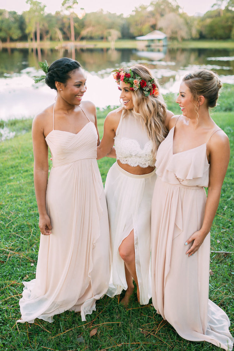 Bohemian Chic Wedding Portrait of Bride with Lace Dress and Flower Crown with Bridesmaids in Blush Pink Bella Bridesmaids Dresses | Tampa Bay Wedding Hair and Makeup Artist Michele Renee The Studio