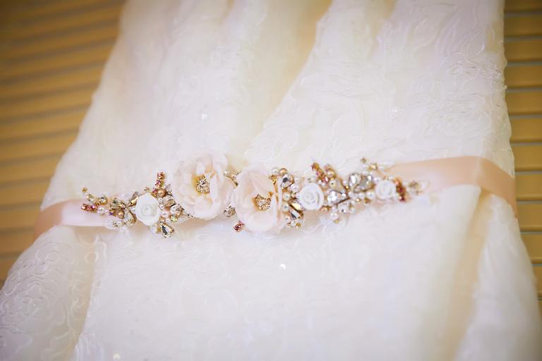 Rosette, Crystal, Rhinestone, Bridal Wedding Sash on Wedding Dress