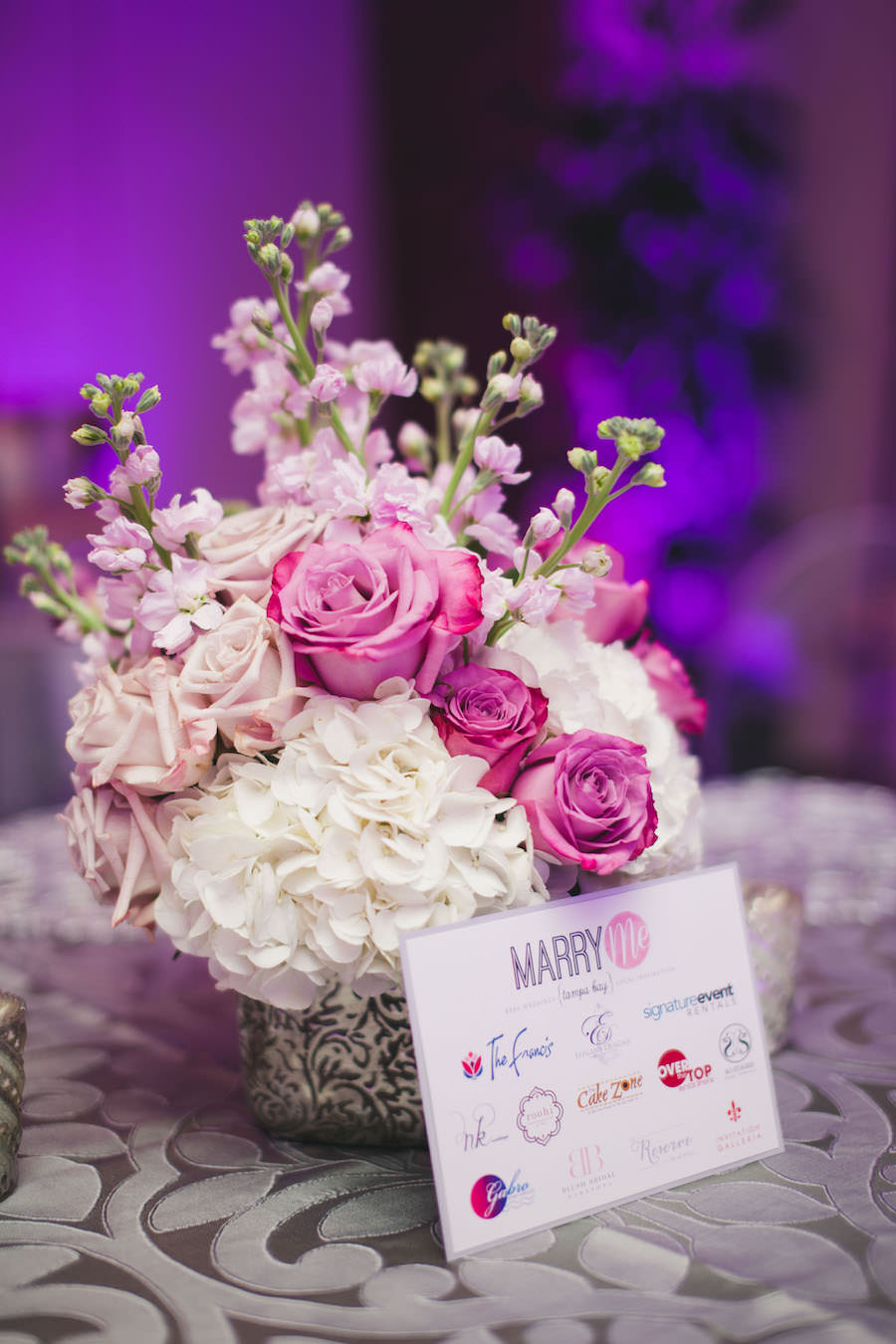 Silver Reception Decor With Pink Rose And White Hydrangea Wedding