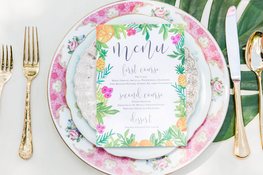 Tropical, Lilly Pulitzer, Palm Tree, Citrus and Flamingo Tropical Inspired Wedding Place Setting Menu Card and Gold Mini Pineapple and Vintage Dish Rentals | Tampa Wedding Letterpress Custom Designs by A&P Designs