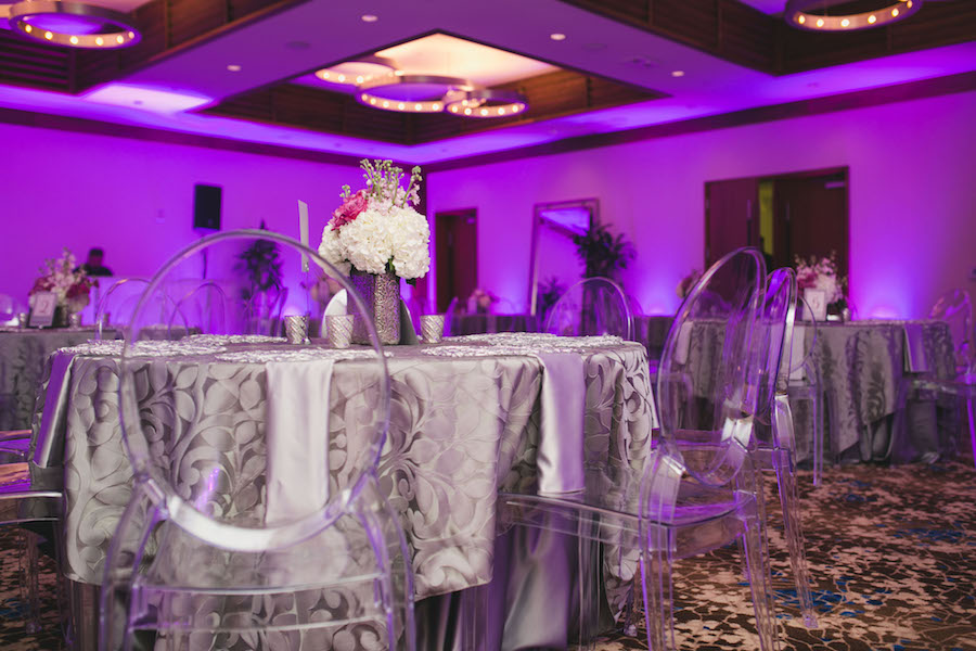 Silver Reception Decor With Pink And White Wedding Centerpieces