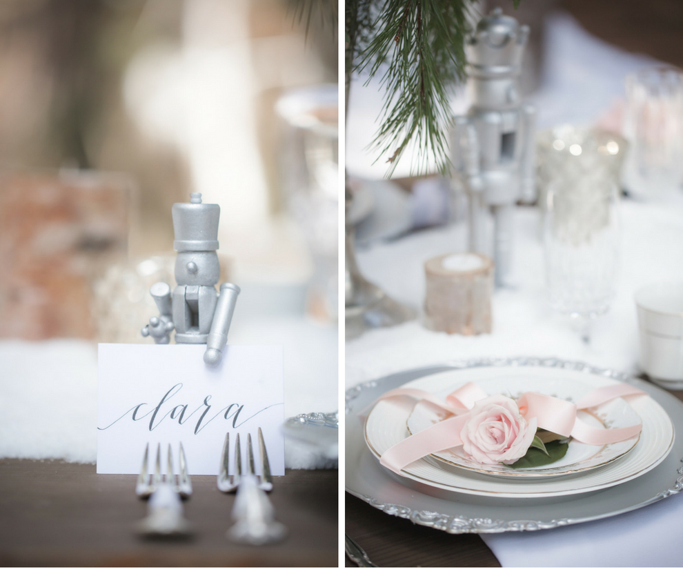 Nutcracker Ballet Styled Wedding Shoot   Outdoor Winter Inspired Wedding Reception with Faux Fur and Wooden Farm Tables with Silver Charger Plates with Vintage China Dishes   Ever After Vintage Weddings Tampa Bay Wedding Rental Company and Event Stylist