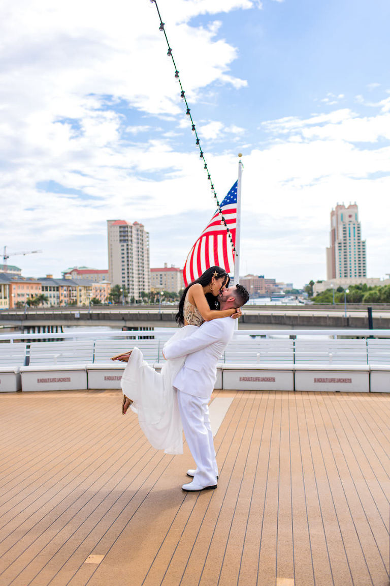 Bride and Groom Wedding Kiss Portrait | Downtown Tampa Wedding Venue Yacht StarShip