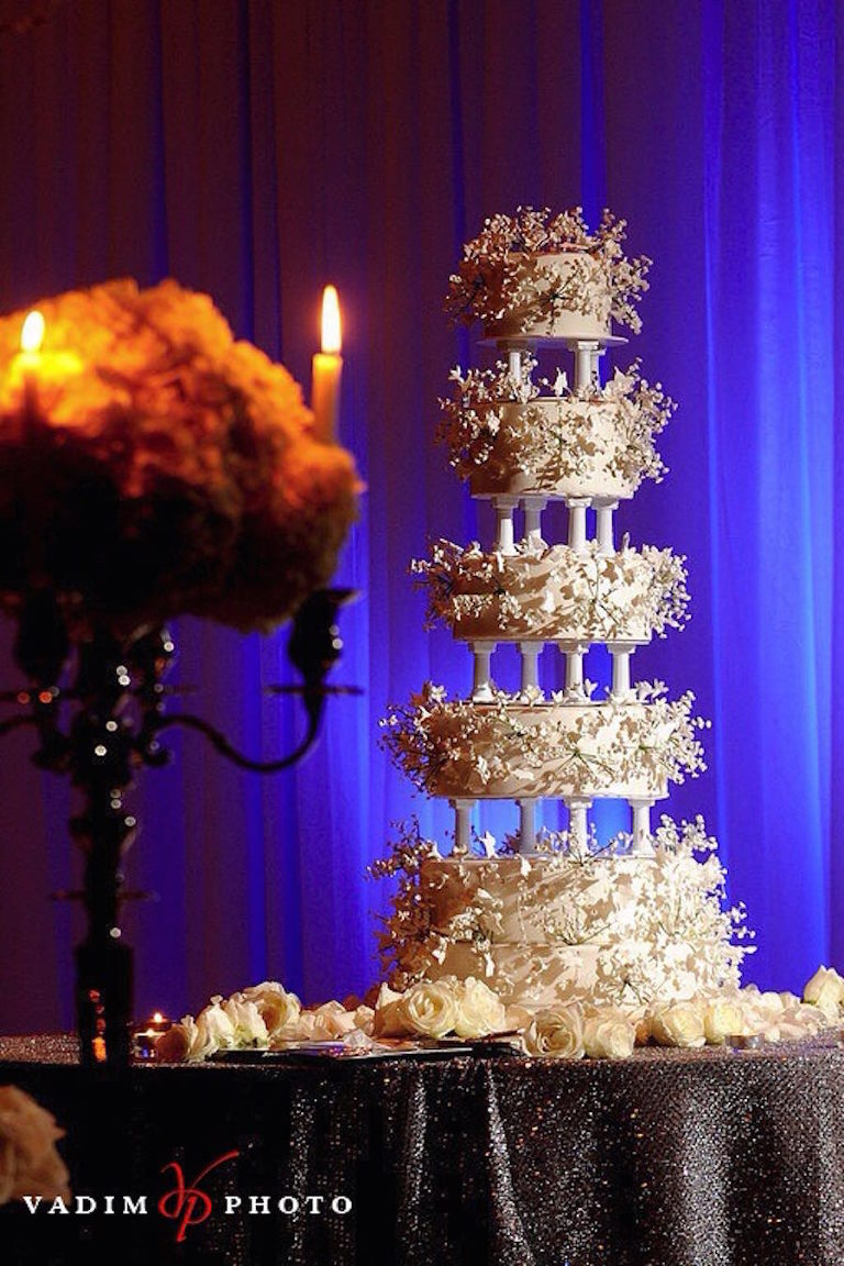 Five Tiered Sculpted wedding Cake with Sugar Flower Design | Tampa Wedding Cake Bakery A Piece of Cake and Desserts