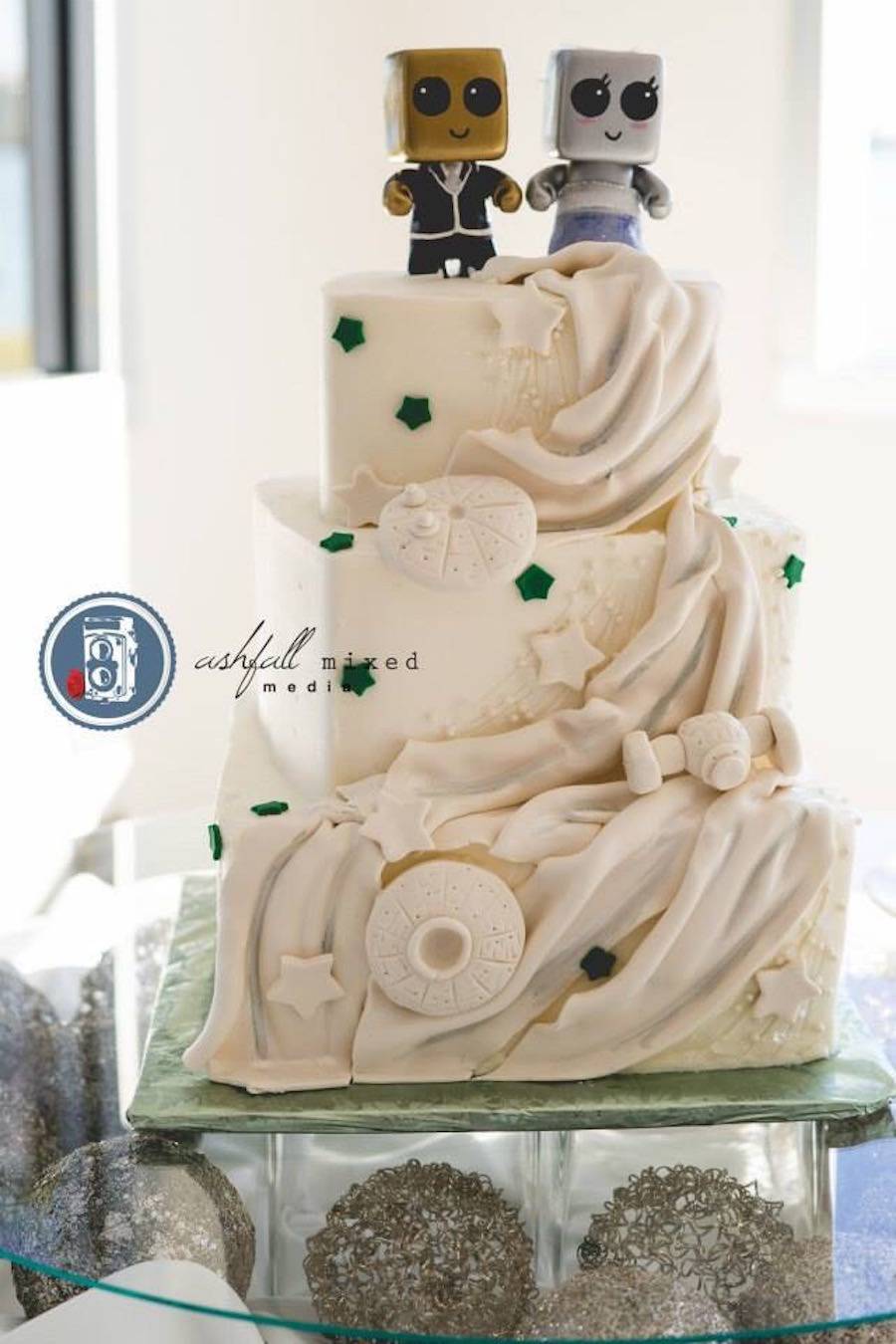 Three Tiered White Unique Modern Robot Inspired Wedding Cake | Tampa Wedding Cake Bakery A Piece of Cake and Desserts