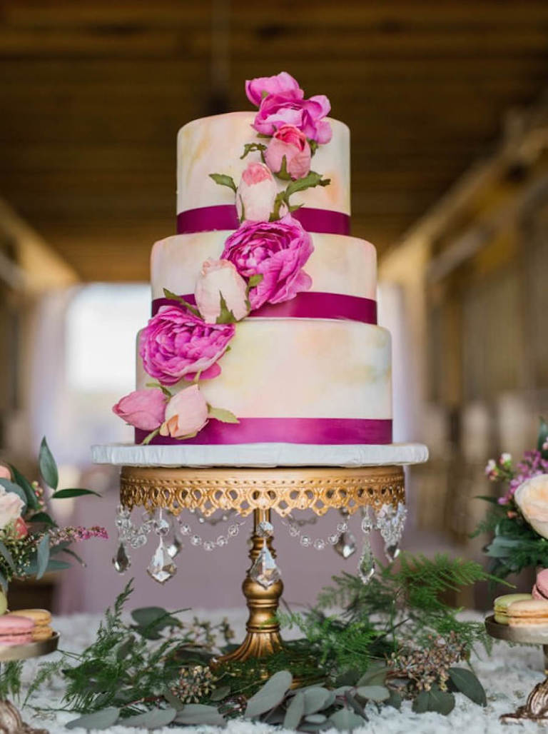 Three Tiered Round Wedding Cake with Pastel Pink Airbrush Design and Pink Floral Accent | Tampa Wedding Cake Bakery A Piece of Cake and Desserts