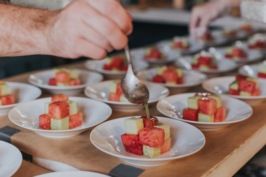Cubed Cucumber Watermelon Salad | Tampa Wedding and Event Catering Company SaltBlock Catering