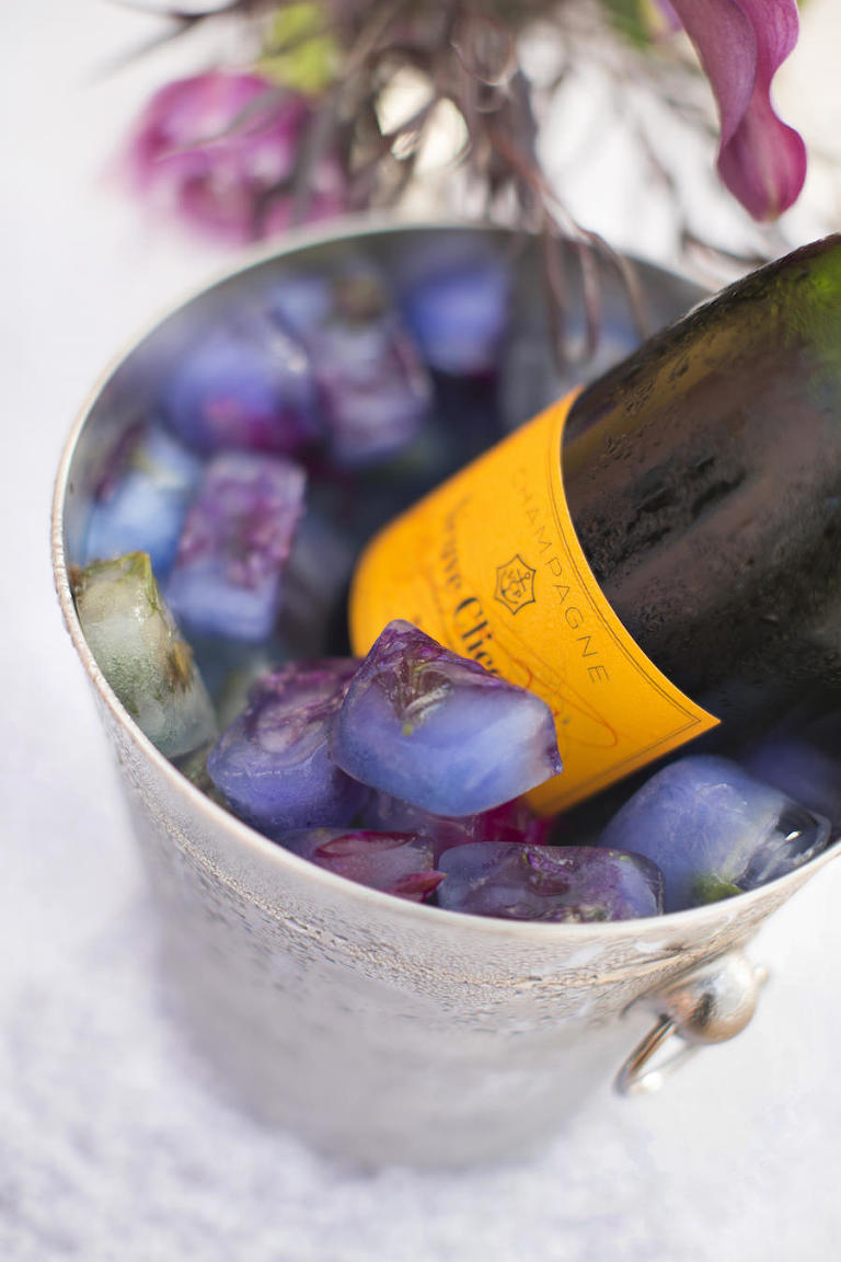 Veuve Clicquot Champagne in Bucket with Flower Filled Ice Cubes