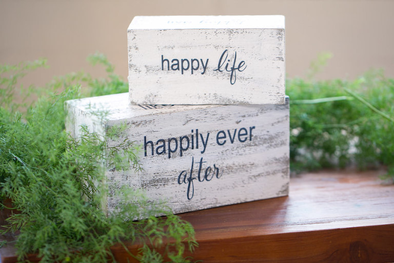 Happy Life | Happy Ever After Vintage Distressed Wedding Signs | Boho Chic Wedding Ideas and Inspiration