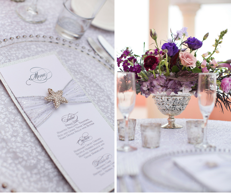 Beaded Glass Charger with White and Silver Wedding Menu and Purple and Blush Pink Centerpieces | Wedding Reception Ideas & Inspiration